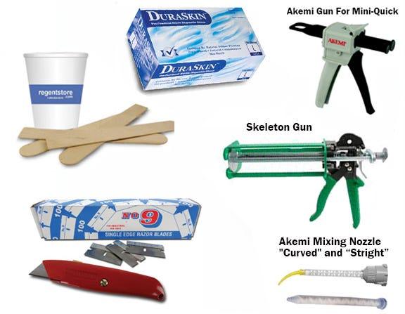 Mixing Sticks, Caulk Guns, Razor Blades & Gloves